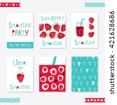 strawberry smoothie party. set... | Shutterstock .eps vector #421628686