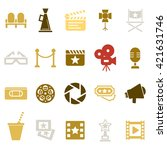 cinema retro movies icons set.... | Shutterstock .eps vector #421631746