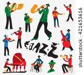 jazz musicians   vector... | Shutterstock .eps vector #421653616