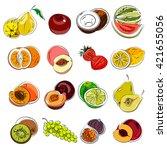 set of sketch with summer... | Shutterstock .eps vector #421655056