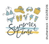 summer time. logo design for... | Shutterstock .eps vector #421658146