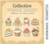 set of hand drawn sweet... | Shutterstock .eps vector #421662712