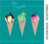 ice cream cone vector | Shutterstock .eps vector #421670662