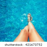 Legs In The Pool. Vacation At...
