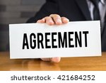 agreement  message on white... | Shutterstock . vector #421684252