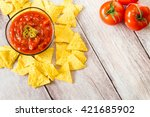 tomato sauce with jalapeno... | Shutterstock . vector #421685902