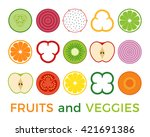 various of sliced fruits and... | Shutterstock .eps vector #421691386