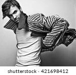 elegant stylish handsome man.... | Shutterstock . vector #421698412