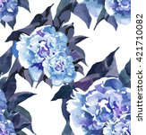 2 peonies pattern new on white... | Shutterstock . vector #421710082