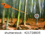 arrow moving through air to... | Shutterstock . vector #421728835