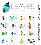 leaf logo set. vector...   Shutterstock .eps vector #421736095