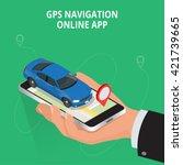 mobile gps navigation  travel... | Shutterstock .eps vector #421739665