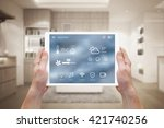 smart home control on tablet.... | Shutterstock . vector #421740256