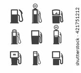 Gas Pump Icons. Vector...