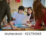 meeting in architects office | Shutterstock . vector #421754365