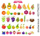 icons  fresh fruit. pineapple ... | Shutterstock .eps vector #421756252