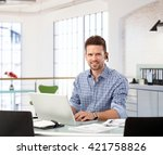 entrepreneur working with... | Shutterstock . vector #421758826
