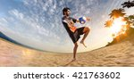 beach soccer player in action.... | Shutterstock . vector #421763602