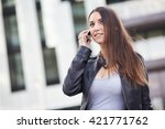 talking to mobile | Shutterstock . vector #421771762