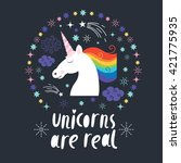 unicorns are real | Shutterstock .eps vector #421775935