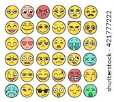 hand drawn set of emoticons.... | Shutterstock .eps vector #421777222