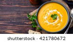 pumpkin and carrot soup with... | Shutterstock . vector #421780672