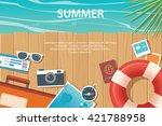 summer and travel flat banner... | Shutterstock .eps vector #421788958