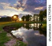 sunset on the river | Shutterstock . vector #421793986
