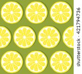 seamless pattern of lemons... | Shutterstock .eps vector #421794736