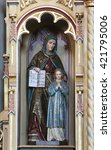 Small photo of STITAR, CROATIA - AUGUST 27: St Ann with Virgin Mary, altarpiece on altar of Our Lady in the church of Saint Matthew in Stitar, Croatia on August 27, 2015