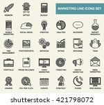 set of line flat design icons... | Shutterstock .eps vector #421798072