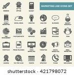 set of line flat design icons... | Shutterstock .eps vector #421798072