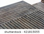 old wooden table lath scantling ... | Shutterstock . vector #421815055