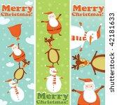 santa  rudolf and snowman... | Shutterstock .eps vector #42181633