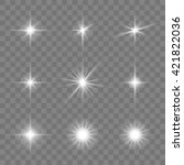 set of glowing stars. vector... | Shutterstock .eps vector #421822036