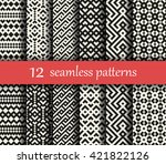 set of twelve vector geometric... | Shutterstock .eps vector #421822126