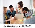 multi ethnic group of succesful ... | Shutterstock . vector #421827682
