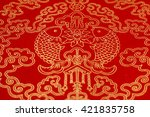 red rice paper with golden... | Shutterstock . vector #421835758