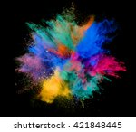 explosion of colored powder on... | Shutterstock . vector #421848445