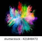 explosion of colored powder on... | Shutterstock . vector #421848472