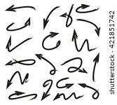 vector set arrows  hand drawn...   Shutterstock .eps vector #421851742
