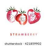 strawberry watercolor... | Shutterstock . vector #421859902