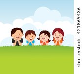family lying on the grass.... | Shutterstock .eps vector #421869436