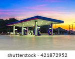 gas station at sunset. | Shutterstock . vector #421872952