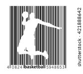 basketball player in a barcode... | Shutterstock .eps vector #421888642