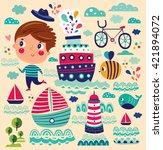 summer vector illustration with ... | Shutterstock .eps vector #421894072