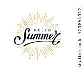 hello summer. hand lettering... | Shutterstock .eps vector #421895152