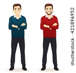 smiling handsome man in casual... | Shutterstock .eps vector #421896952