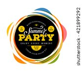 summer party lettering. vector... | Shutterstock .eps vector #421899292