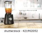 black blender and juice  | Shutterstock . vector #421902052